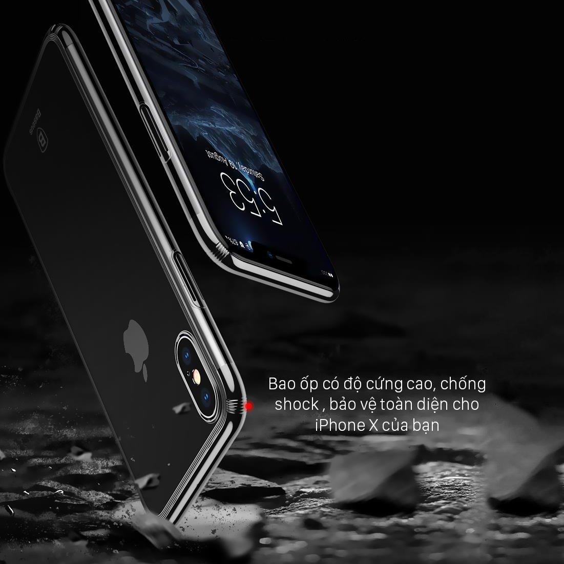 Ốp lưng iPhone X Baseus Minju trong suốt, siêu mỏng, chống trầy xước