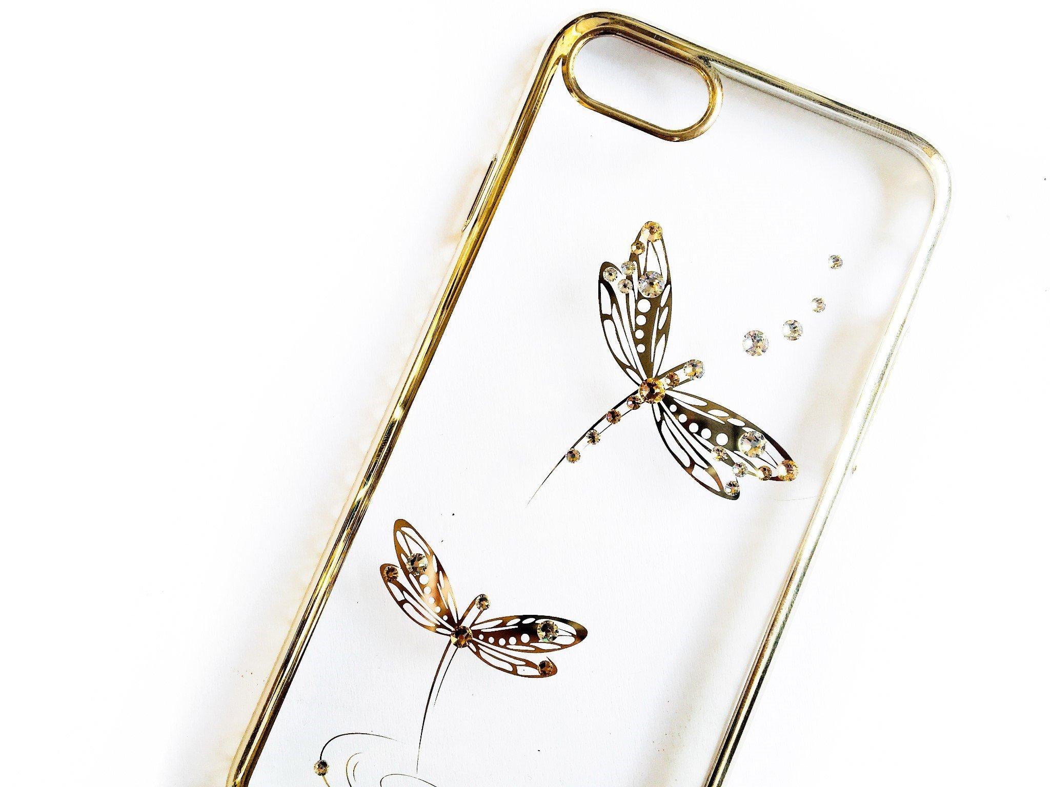 Ốp lưng iPhone 8 / iPhone 7 Tuxedo Crystal đính đá Swarovski in hình Chuồn chuồn vàng