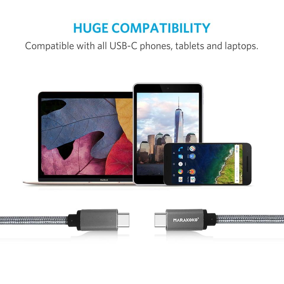 Cáp sạc điện thoại Marakoko M-TC02 USB Type-C to USB Type-C, bọc dù, dài 1.5m