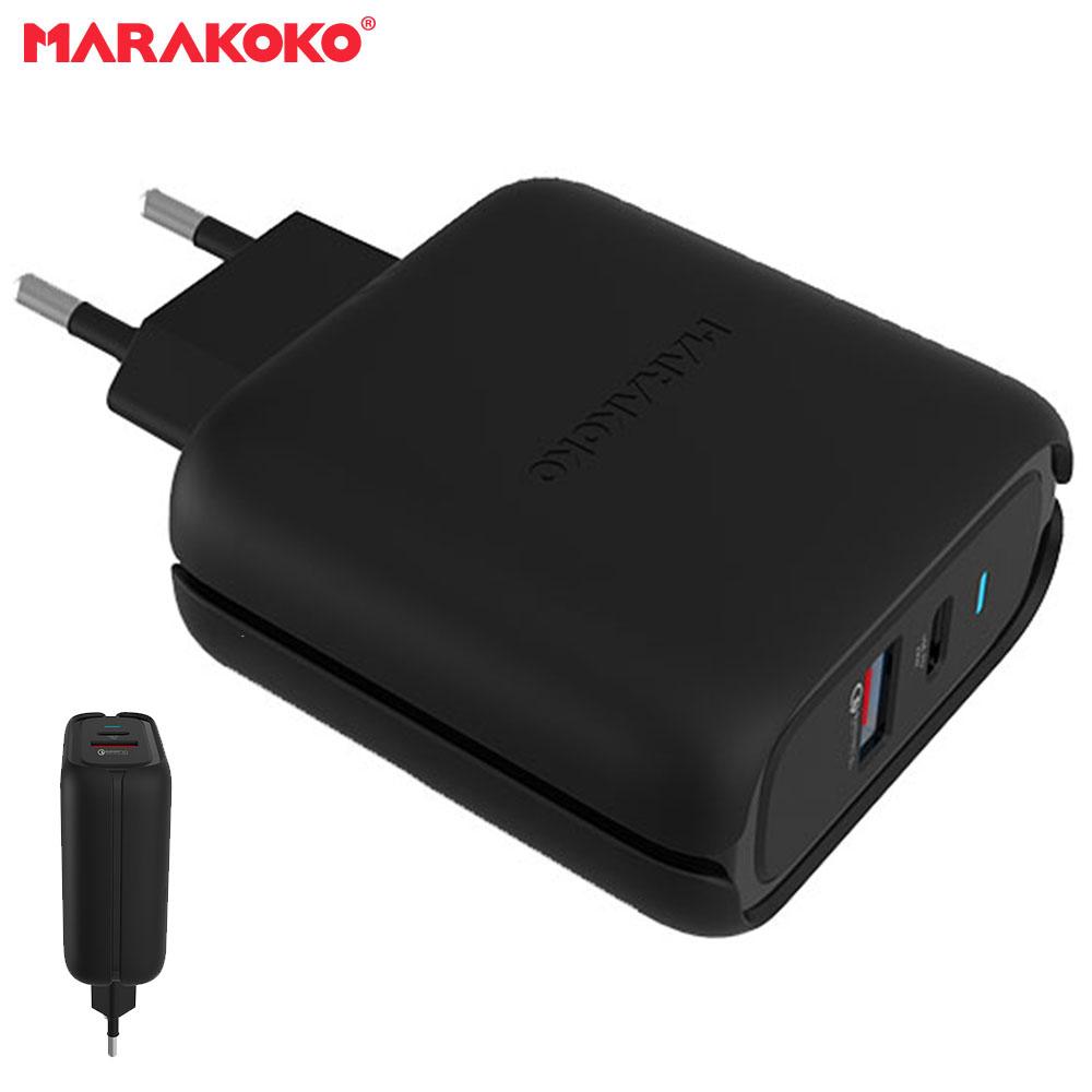 Củ sạc điện thoại Marakoko MA27, 2 cổng sạc ra, 1x USB-C PD 3.0, 1x QC 3.0