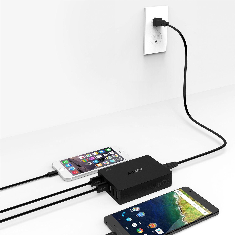 Sạc điện thoại Aukey PA-T11 (6 cổng USB 60W), 2x Quick Charge 3.0, 4x AiPower