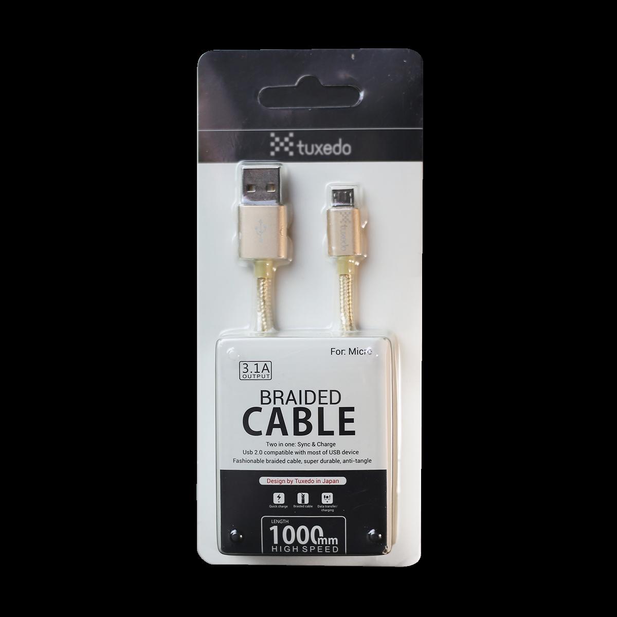 Cáp sạc điện thoại Tuxedo Micro USB bọc dù dài 1m (hỗ trợ sạc nhanh)