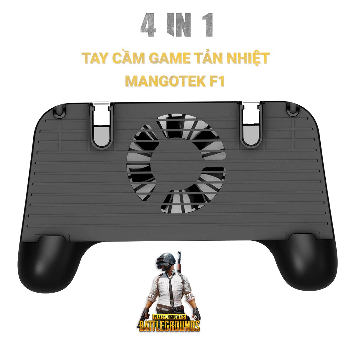 Tay cầm game MANGOTEK F1 ( 4 trong 1) kèm nút bấm, kiêm sạc dự phòng, đế tản nhiệt