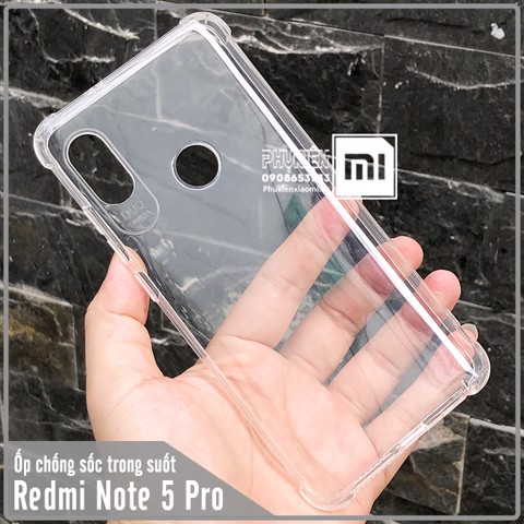 Ốp lưng Xiaomi Redmi Note 5 / Note 5 Pro, trong suốt chống sốc