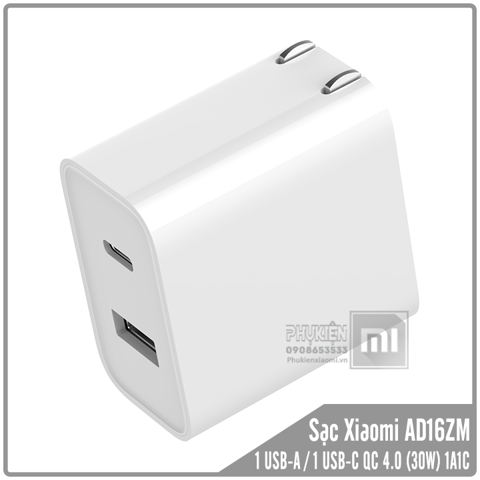 Củ sạc nhanh Xiaomi 1 USB-A Quick Charge 3.0 / 1 USB-C Power Delivery (1A1C) AD16ZM - Max 30W