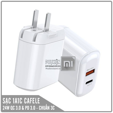 Adapter sạc nhanh Cafele 27W, 1 USB-A Quick Charge 3.0 + 1 USB-C Power Delivery 3.0