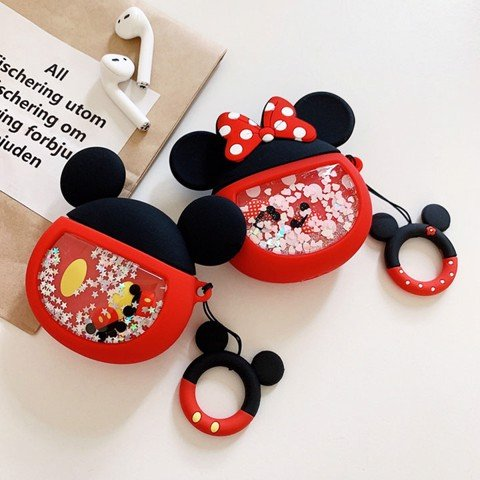Case silicon cho tai nghe Airpods mẫu 3D Mickey Minnie