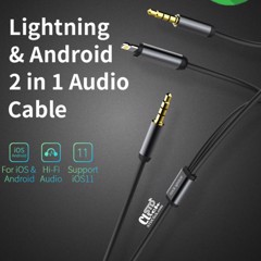 CÁP LIGHTNING VÀ ANDROID JACK 3.5MM 2 in 1 RA AUDIO 3.5MM ROCK SPACE CHÍNH HÃNG