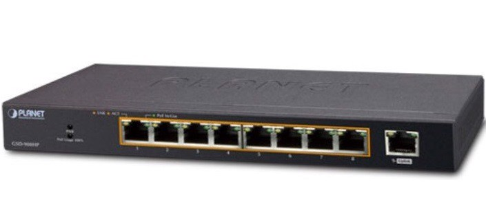 8-port 10/100/1000T 802.1at PoE + 1-port Gigabit desktop Switch PLANET GSD-908HP