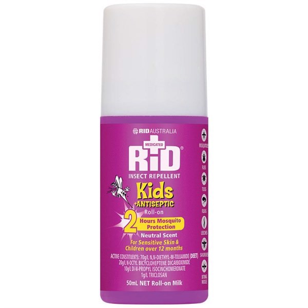 Rid Medicated Insect Repellent Kids Antiseptic 50ml Roll On