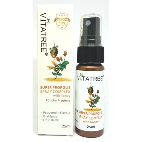 Chai xịt keo ong Vitatree super propolis spray complex with manuka 15+ 25ml