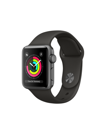 MTF02VN/A Apple Watch S3 38mm Space Gray Aluminum Case With Gray Sport Band
