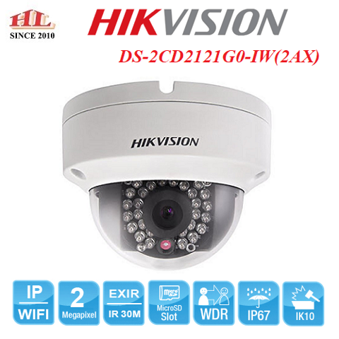 CAMERA IP DOME 2MP HIKVISION DS-2CD2121G0-IW(2AX)