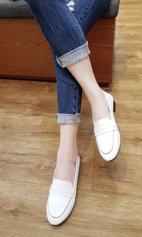 GIÀY BÚP BÊ LOAFER IRIS WHITE CLAN010W
