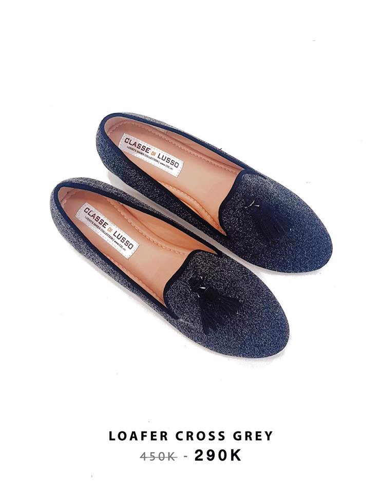 LOAFER CROSS GREY LÔNG CHUỘT CLO001GREY