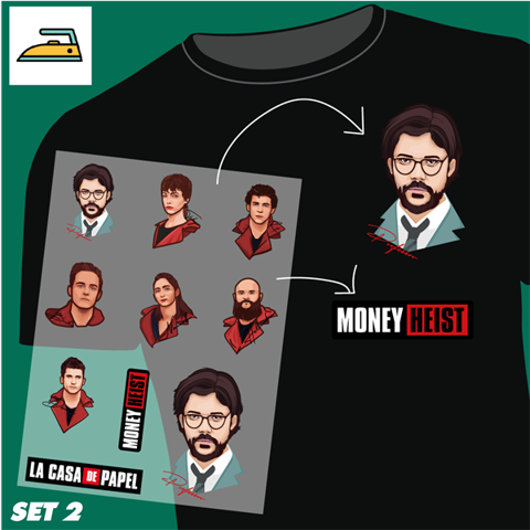 Set 2 Set sticker ủi ép Money Heist - Decal Stahls Mỹ Tấm A4