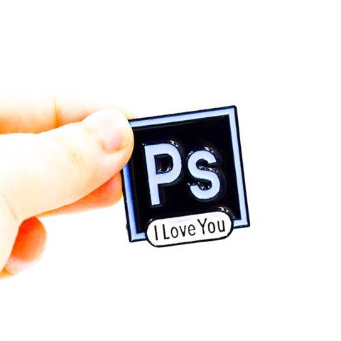 Ps Adobe Photoshop 2.9x3.1cm - Pin sticker ghim cài áo