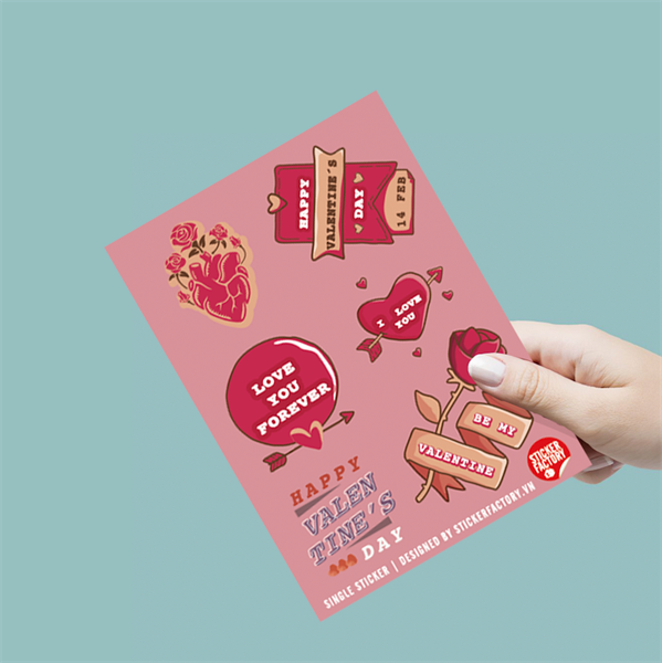 Happy Valentine's Day - Single Sticker hình dán lẻ