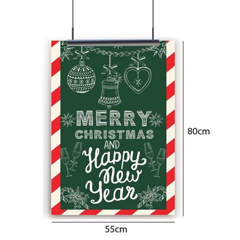 Merry Christmas Happy New Year Noel - Poster decal dán tường cửa kính 55x80cm