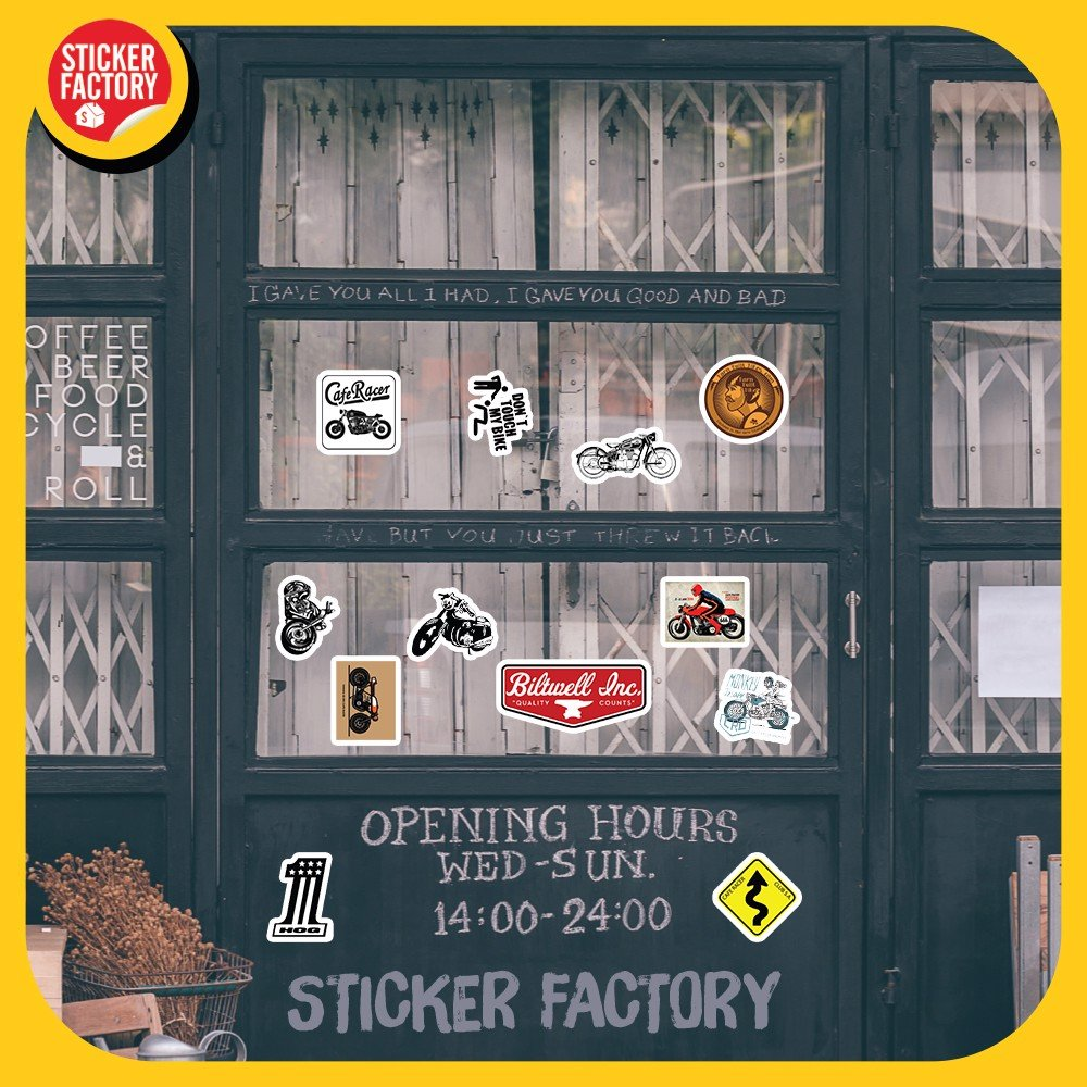 Set 100 Sticker hình dán - Cafe Racer