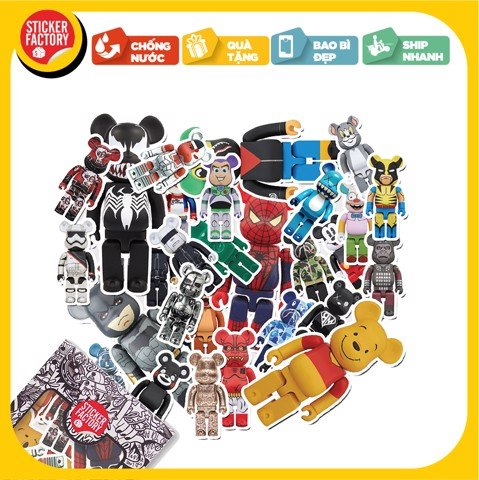 Bearbrick - Set 30 sticker hình dán