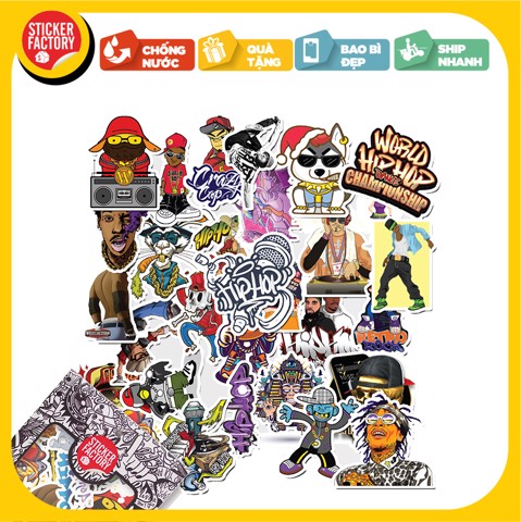 Hiphop - Set 30 sticker hình dán