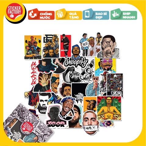 Rapper - Set 30 sticker hình dán