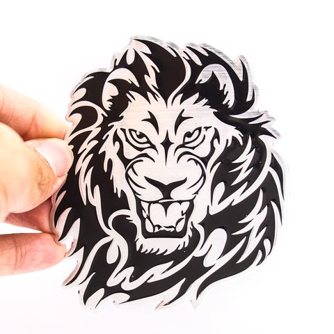 Sticker hình dán metal Lion Head