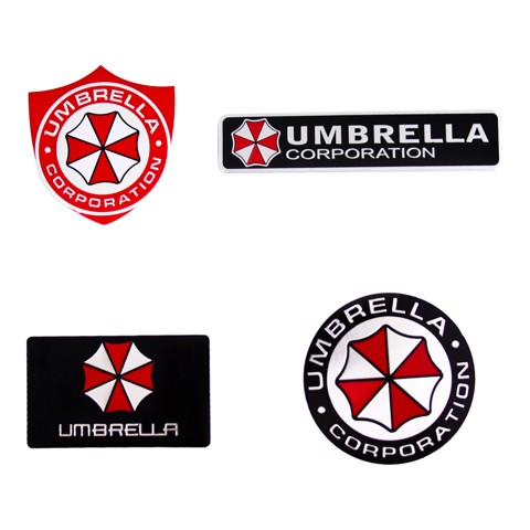 Set 4 Sticker hình dán metal Umbrella