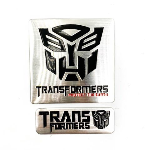 Set 2 sticker metal hình dán Transformer - PROTECT The Earth
