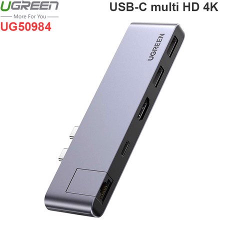 2 USB-C Macbook Pro ra HDMI 4K LAN 1Gbps USB HUB 2 port sạc PD100W Ugreen 50984