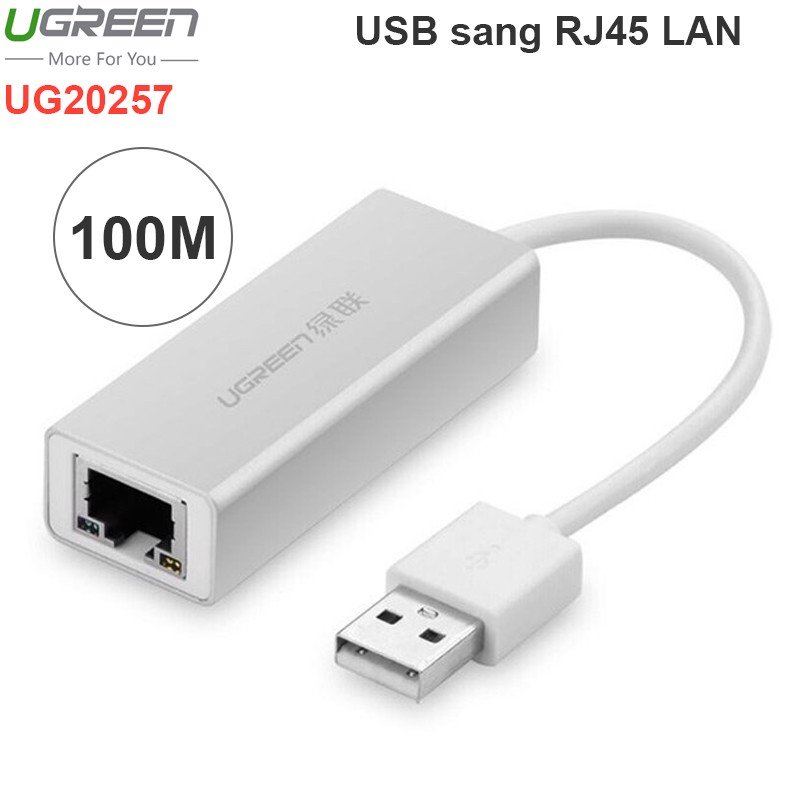 USB 2.0 to LAN 100MB Ugreen 20257 vỏ nhôm