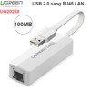 USB 2.0 sang LAN RJ45 10/100Mbps Ugreen 20268 - USB LAN cho Laptop PC Macbook