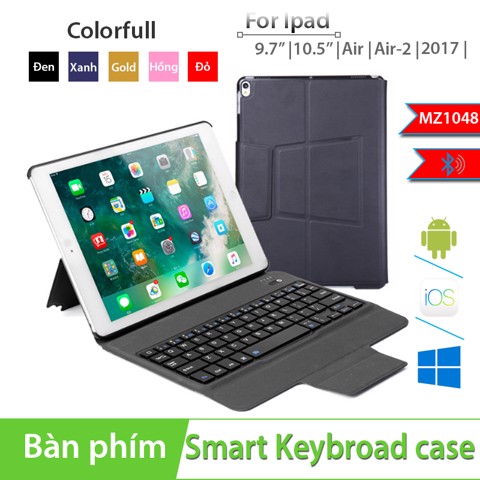 Bàn phím bao da Bluetooth cho Ipad Air/ Air 2/ Pro 9.7/ New Ipad 2018 BOW MZ1048