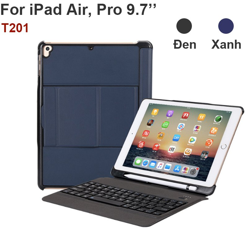 Bàn phím bao da Bluetooth cho iPad Air Air 2 Pro 9.7 gen 6 New iPad 2018 BOW T201