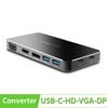Bộ chuyển USB-C ra Display port/HDMI/VGA - 2 cổng USB 3.0/1 cổng USB TYPE-C power UGREEN 40872
