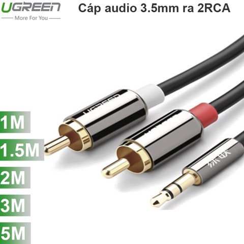 Cáp Audio 3.5mm to 2 RCA UGREEN mạ vàng 24k 1.5M 2M 3M 5M