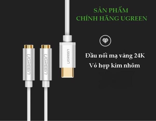 Cáp USB type C ra 2 cổng tai nghe 3.5mm