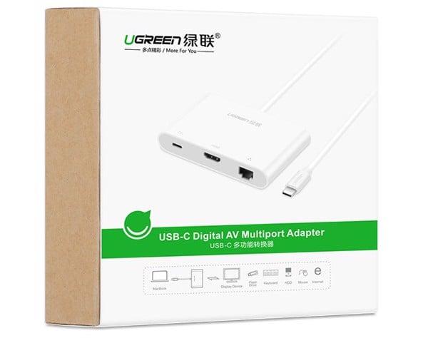 Cáp USB Type C sang HDMI sang Lan sang USB 3.0 Ugreen