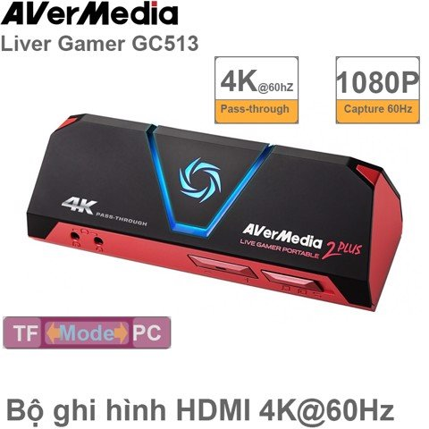 Card ghi hình AverMedia GC513 HDMI 2.0 4K-60Hz to USB Avermedia LIVE GAMER PORTABLE 2 PLUS