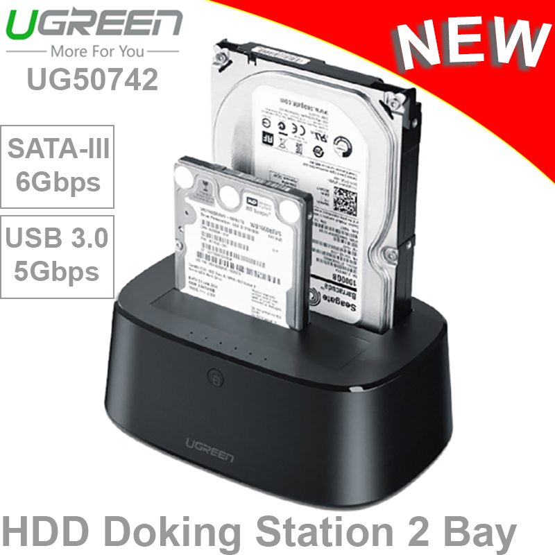 HDD dock 2 khay 2.5/3.5'' SATA-III USB 3.0 Ugreen 50742
