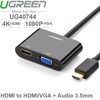 HDMI ra VGA 1080P ra HDMI 4K Audio 3.5mm 20Cm UGREEN 40744