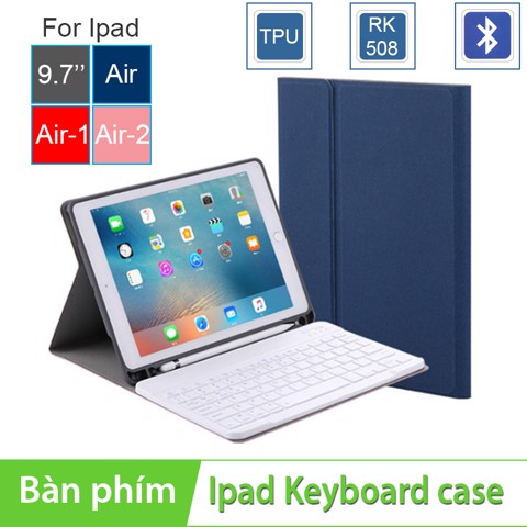 Bàn phím Bluetooth kèm bao da cover cho Ipad Pro 9.7 inches | Ipad Air 1 | Ipad Air 2 | New Ipad 9.7 inches 2017 BOW RK508