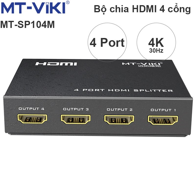 Bộ chia HDMI splitter V1.4 4 port 4K30Hz 3D MT-VIKI MT-SP104M