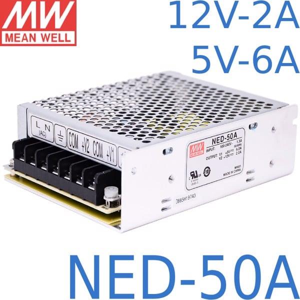 Nguồn DC LED 2 trong 1 12V 5V Meanwell NED-50A Đài Loan