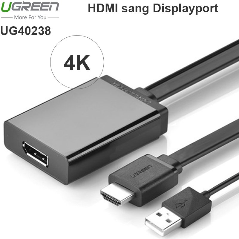 HDMI to Displayport Ugreen 40238 hỗ trợ 4K 30Hz