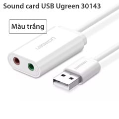 Card sound USB 3.5mm I 30143 / Cạc sound USB 3.5mm Ugreen 30143 I Màu trắng