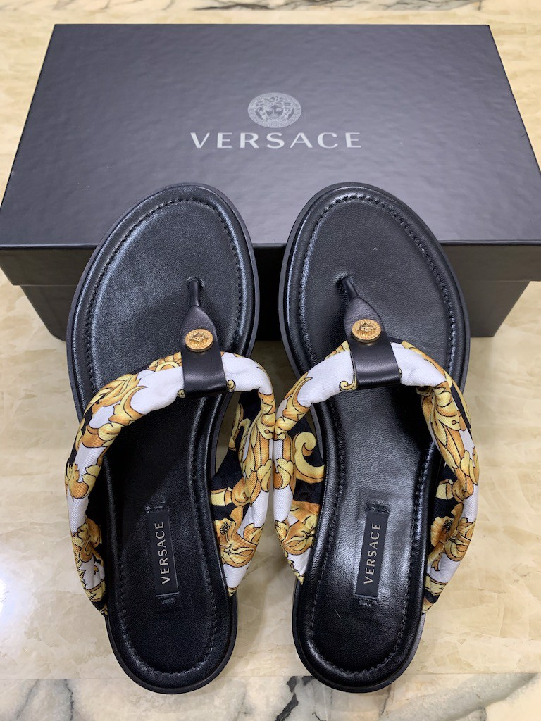 Dép nữ Versace thong calf leather