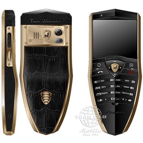 Lamborghini TL688 Stainless Steel Gold and Black PVD, Black Crocodile Leather S685