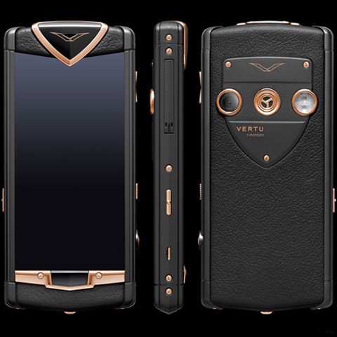 Vertu Touch Pure Black Mixed Red Gold